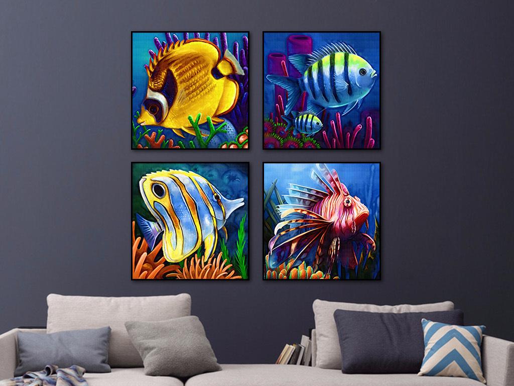 彩色鱼装饰画