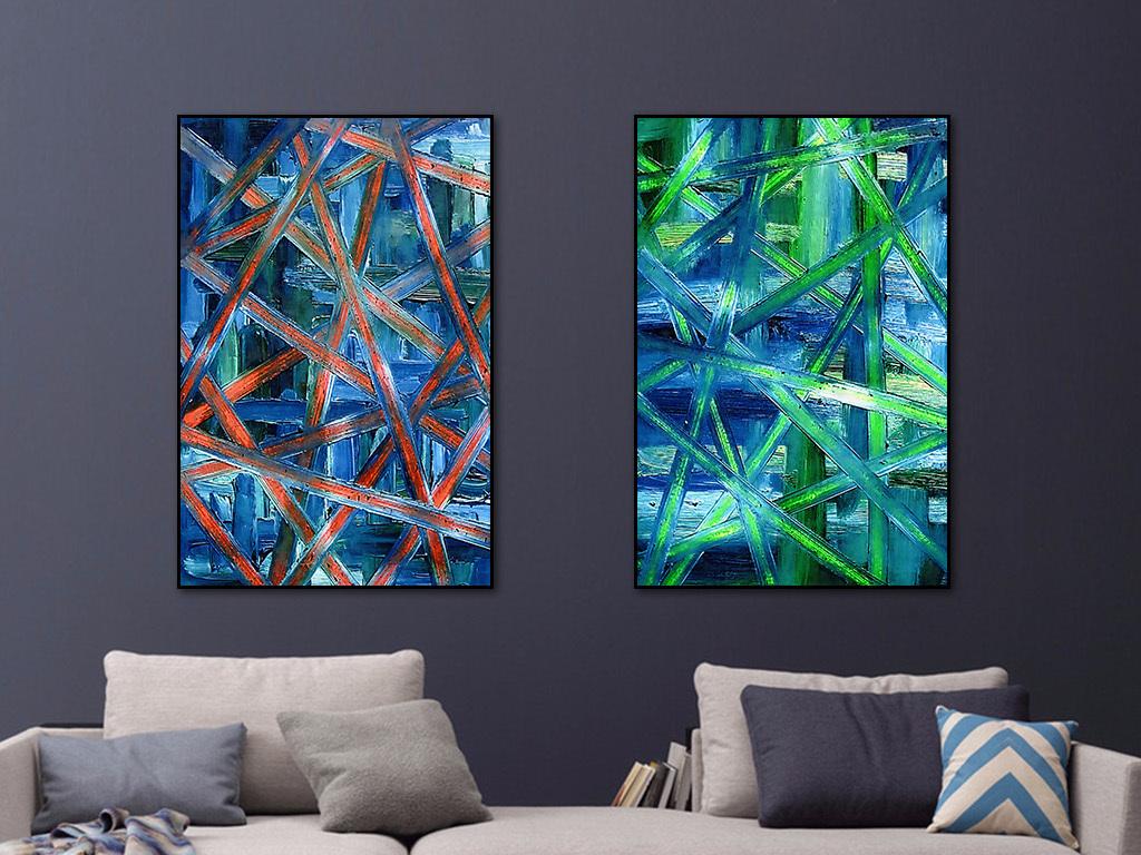 背景墙|装饰画 无框画 抽象图案无框画 > 现代抽象交叉线条装饰画图片