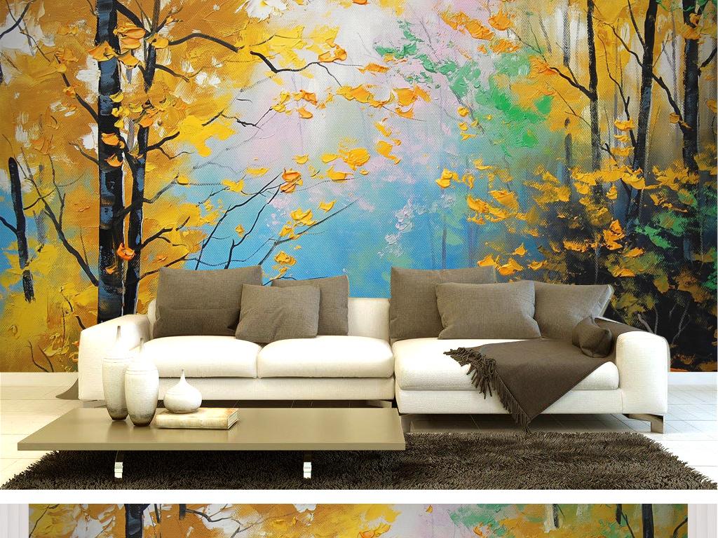 樱花树大树树木花朵花儿森林油画手绘抽象水彩枫叶