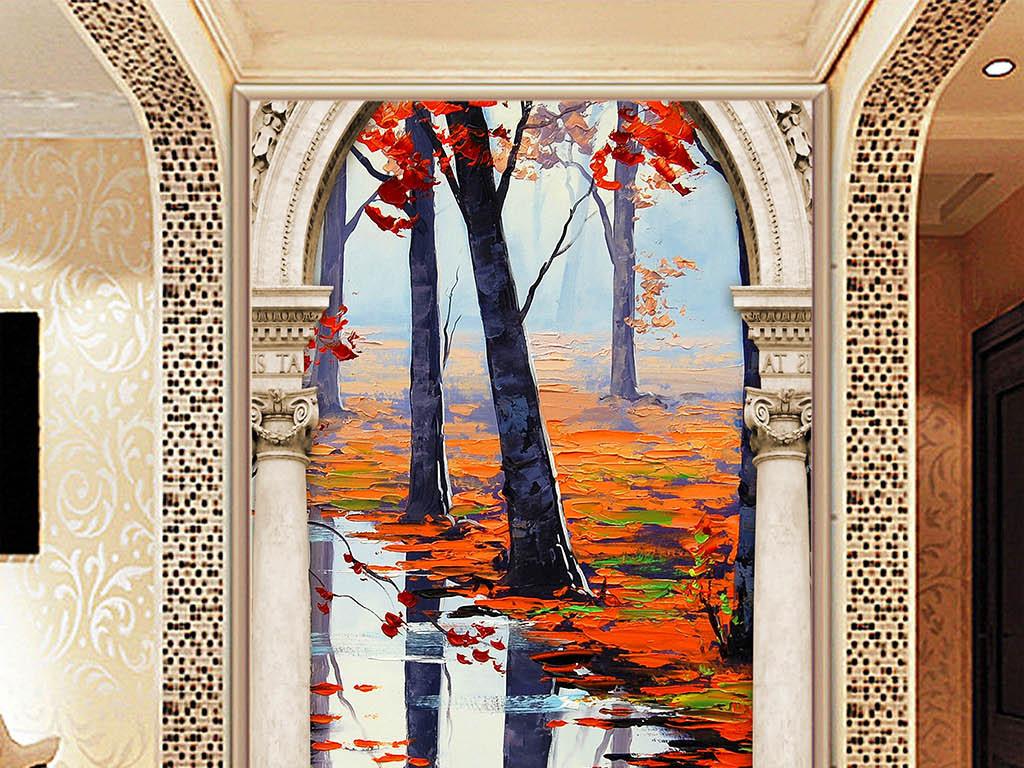 3d玄关背景墙罗马柱门框立体装饰画枫叶林图片