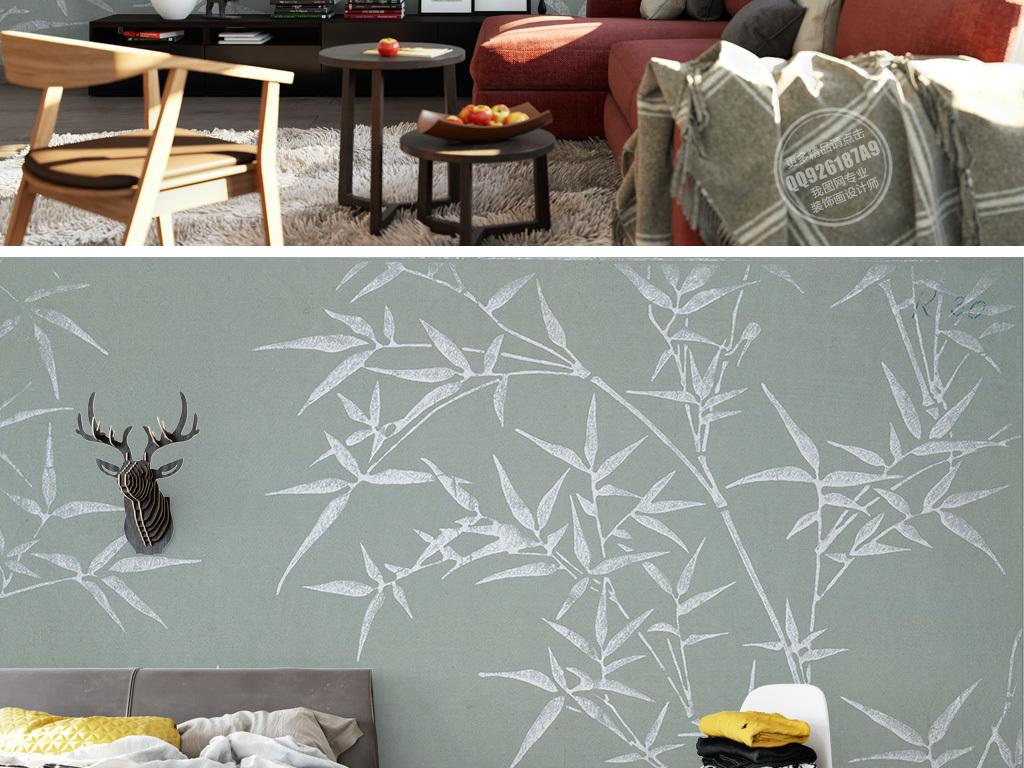 新中式怀旧手绘竹子背景墙壁画