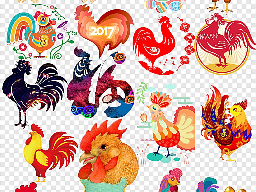 卡通简单幼儿园公鸡剪纸