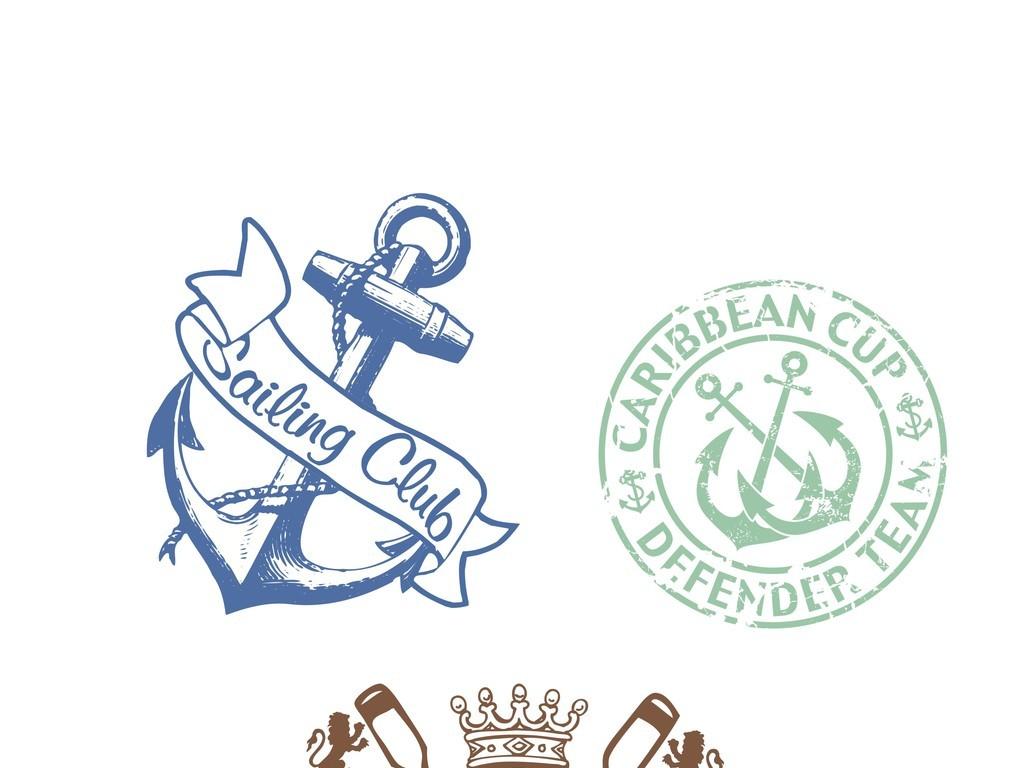 徽章loge欧美风格设计图欧式徽章企业班徽航海徽章