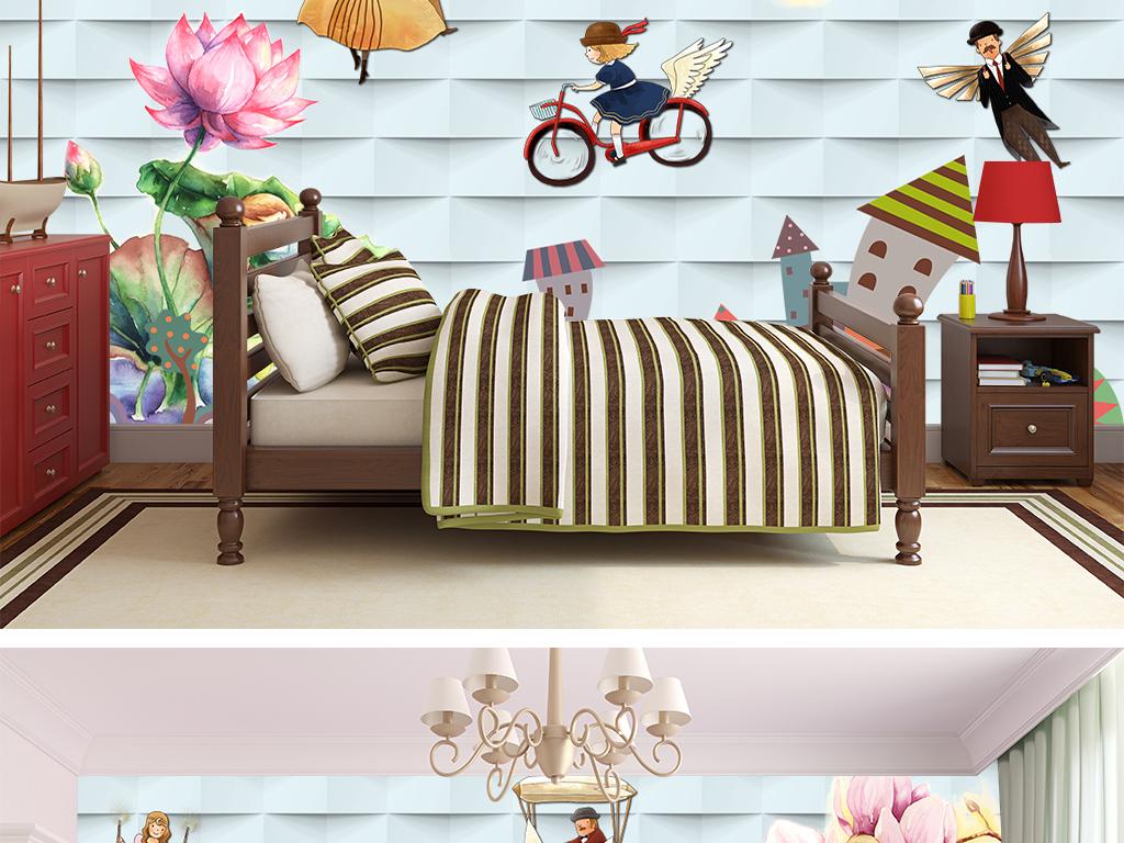 星星月亮雨伞甜美浪漫唯美高清壁纸墙画高清粉色花朵