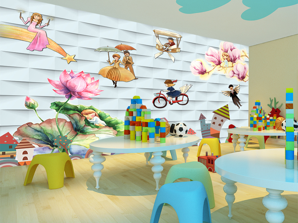 韩式儿童房卡通手绘背景墙壁画