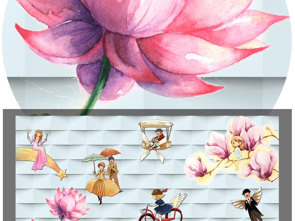 立体背景墙房子手绘彩绘星星月亮雨伞