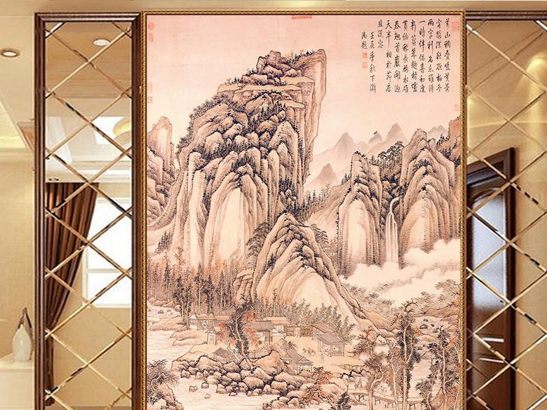 古画山水玄关装饰
