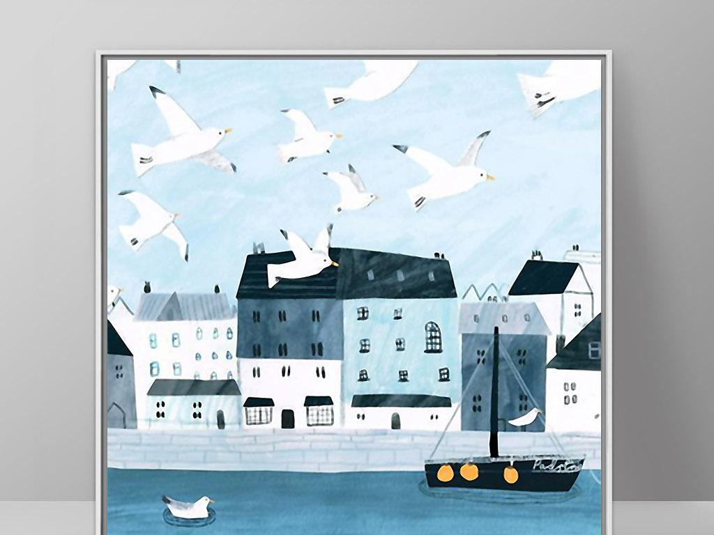 瑞典城市北欧现代简约小清新欧式家居装饰画(图片编号图片