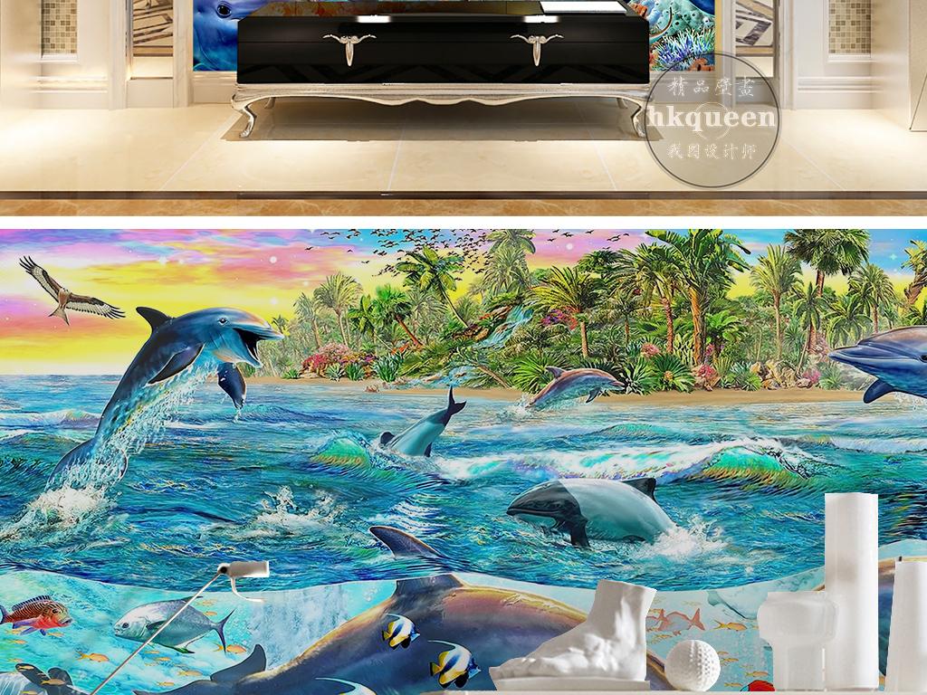 手绘卡通蓝色海洋海豚海岛飞鸟海鸥风景背景墙