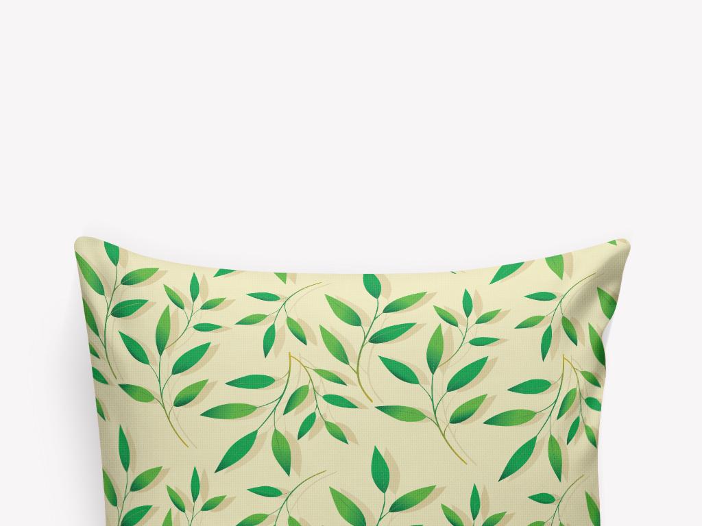 清新手绘绿叶树枝抱枕