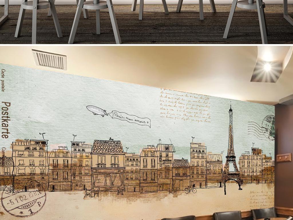 涂鸦城市线描埃菲尔铁塔法国街景明信片复古背景酒吧背景涂鸦背景街景