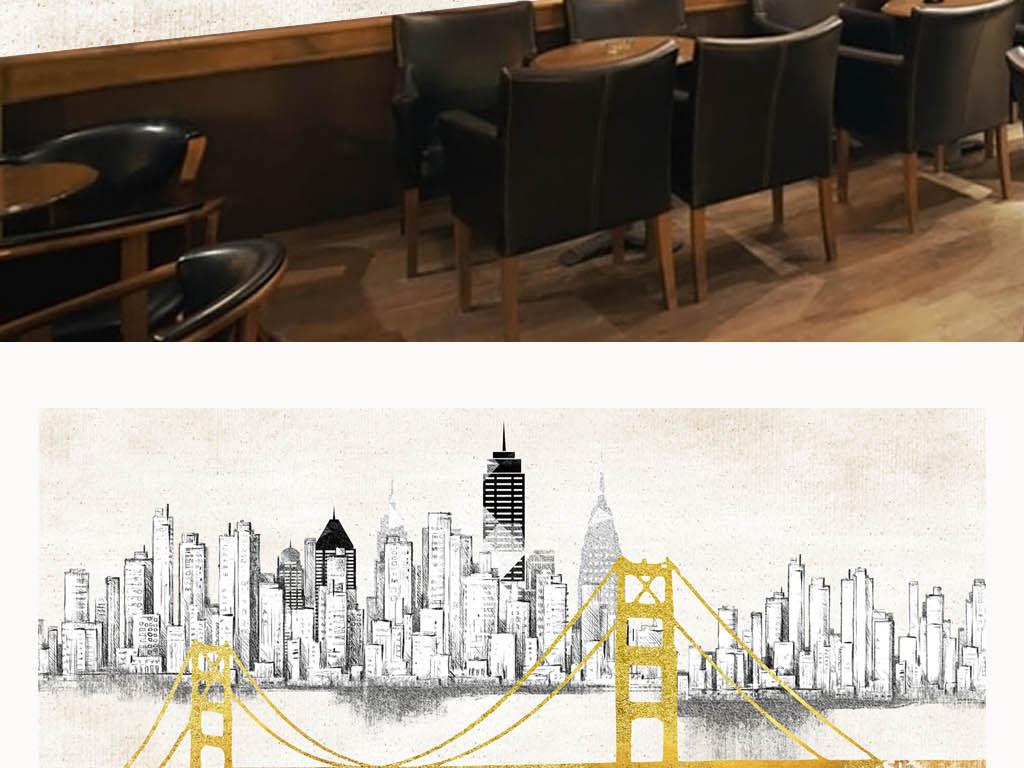 工业风复古涂鸦美国金门大桥酒吧工装背景墙图片