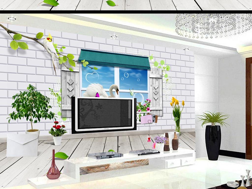 3d木板室内窗外美景浪漫立体天鹅窗外花圃窗外背景墙面背景背景天鹅电