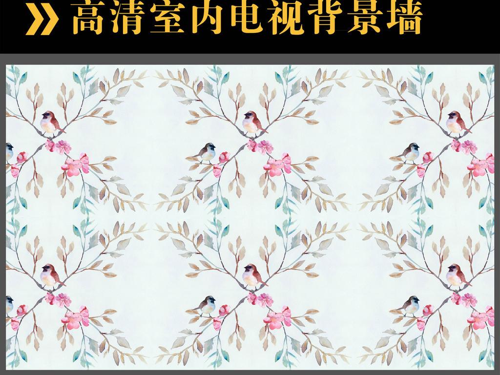手绘彩绘花鸟树木四方连续背景墙