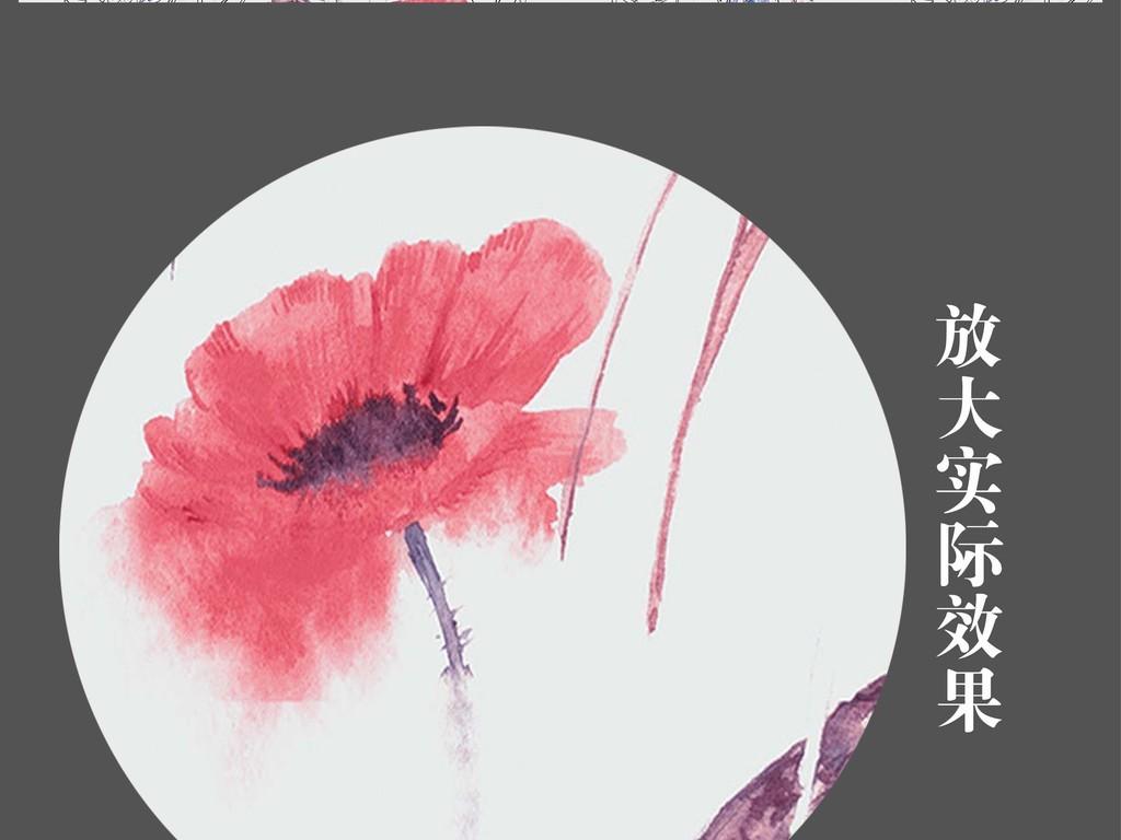 手绘彩绘水彩花鸟森林小清新背景墙