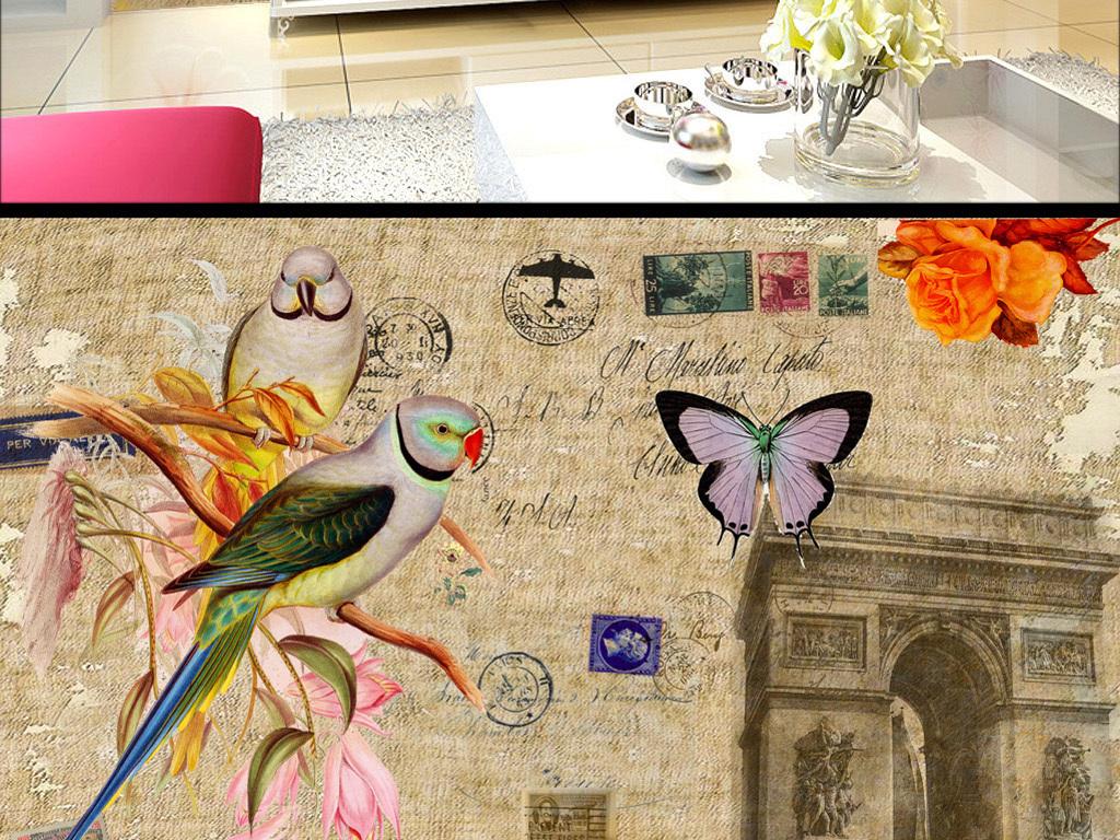 复古风餐厅装饰画古典欧式背景墙图片