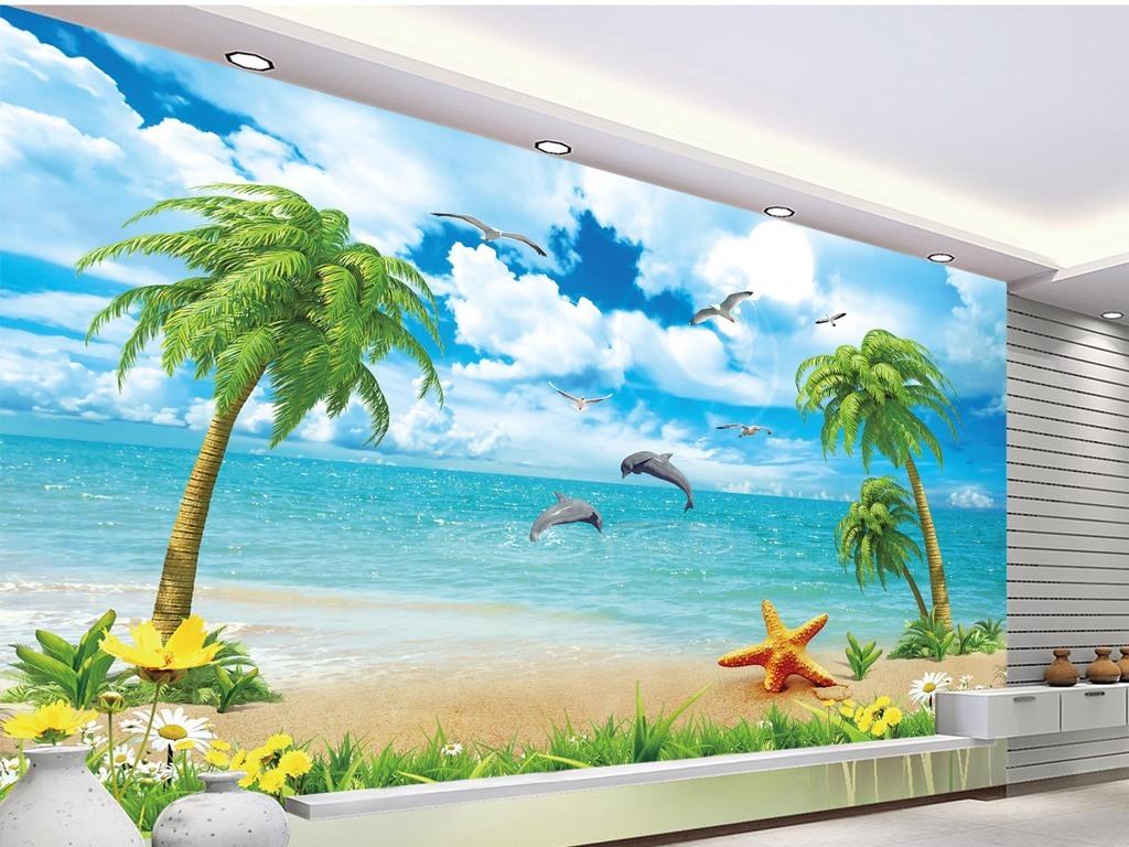 海景椰子树电视背景墙