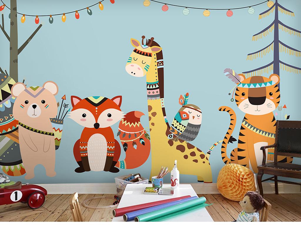 卡通动物背景墙