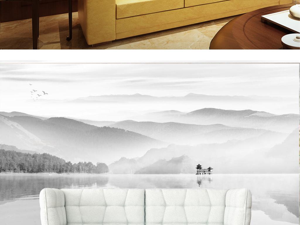 新中式黑白水墨山水国画电视背景墙图片