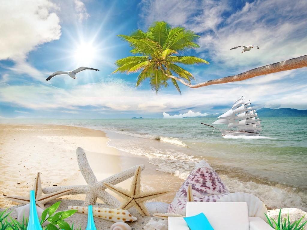 椰树沙滩风景画海景马尔代夫大海电视背景墙