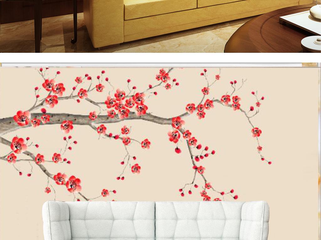新中式手绘梅花国画电视背景墙