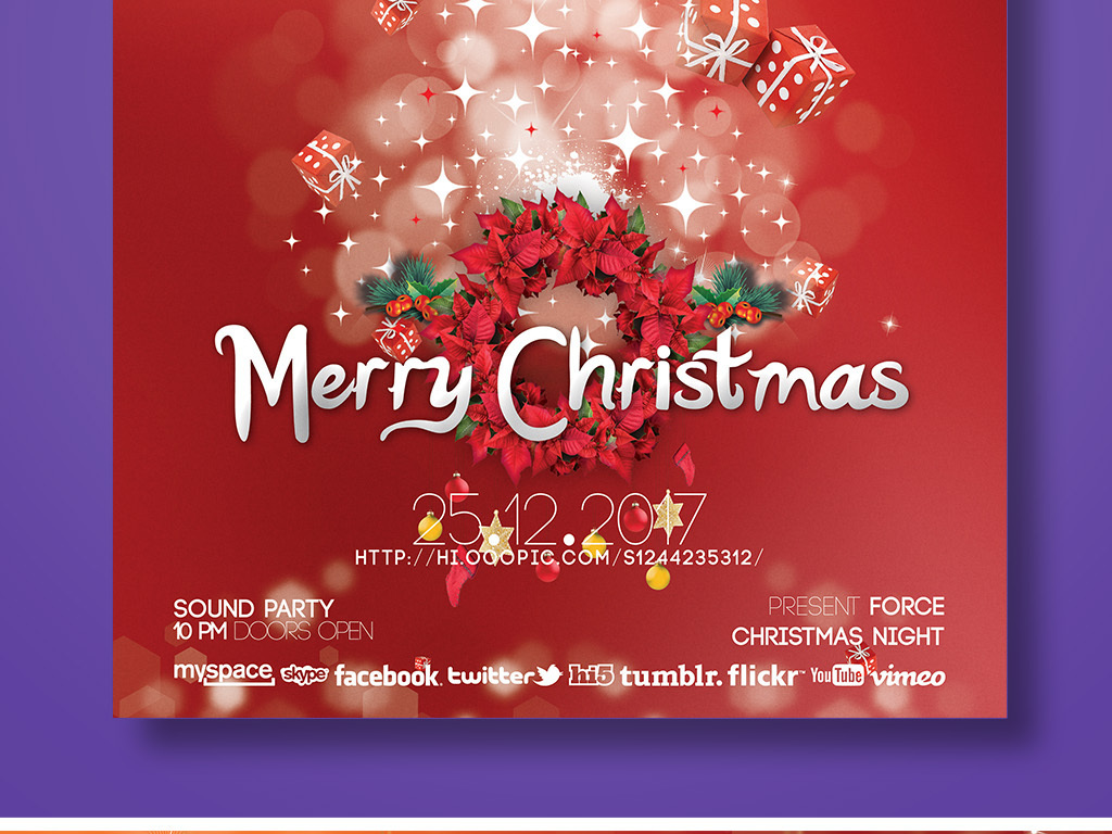 国外创意海报 > 喜庆梦幻时尚唯美创意圣诞节海报psd图片