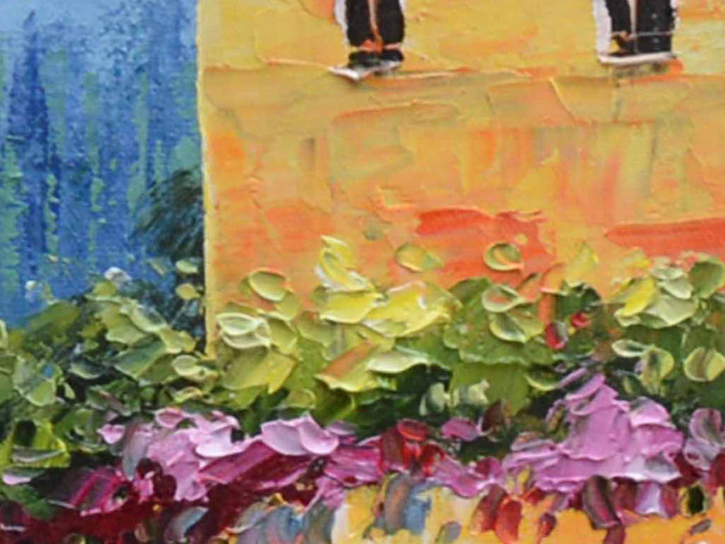 欧式田园地中海风格油画客厅电视沙发背景墙