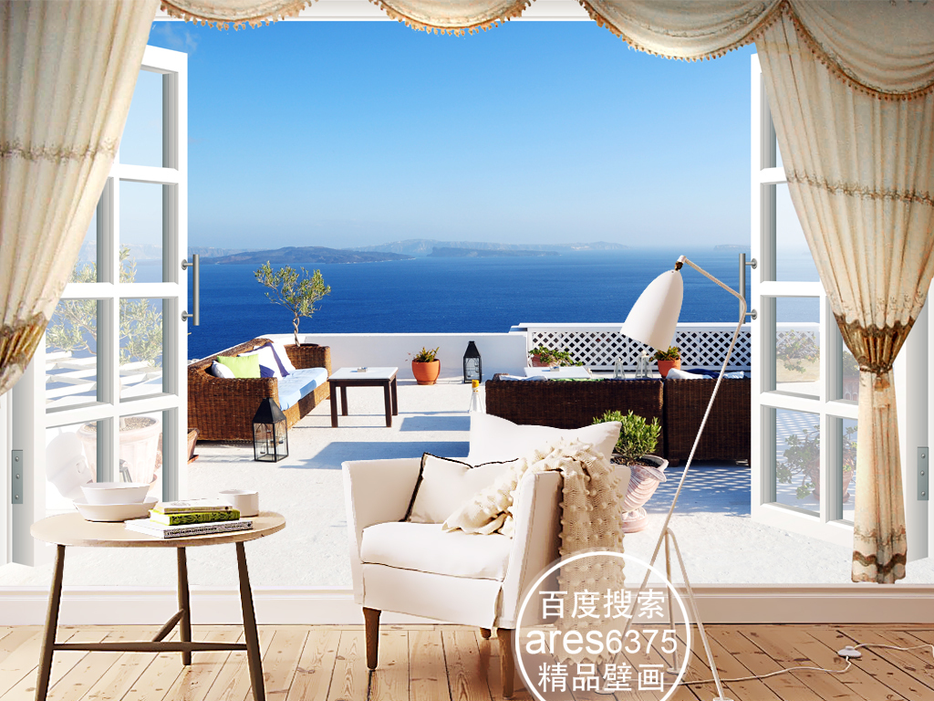 3d立体风景爱琴海窗外阳台背景墙装饰画