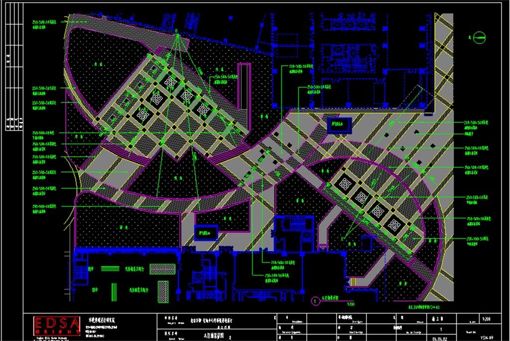 铺装建筑施工CAD总平面图