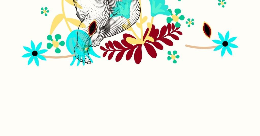 手绘丘比特儿童西方民族元素植物花卉