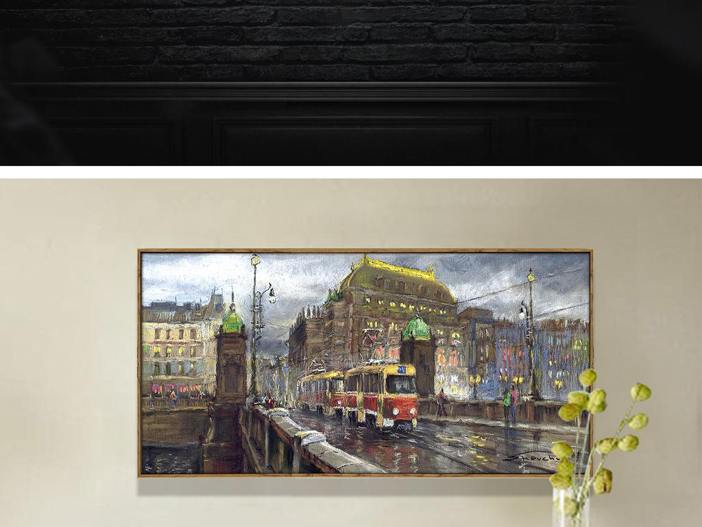 欧洲城市建筑抽象手绘无框画