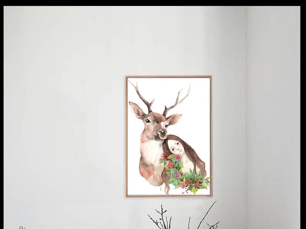 动物清新装饰画简约风格小清新风格小清新装饰画简约手绘手绘风格进口