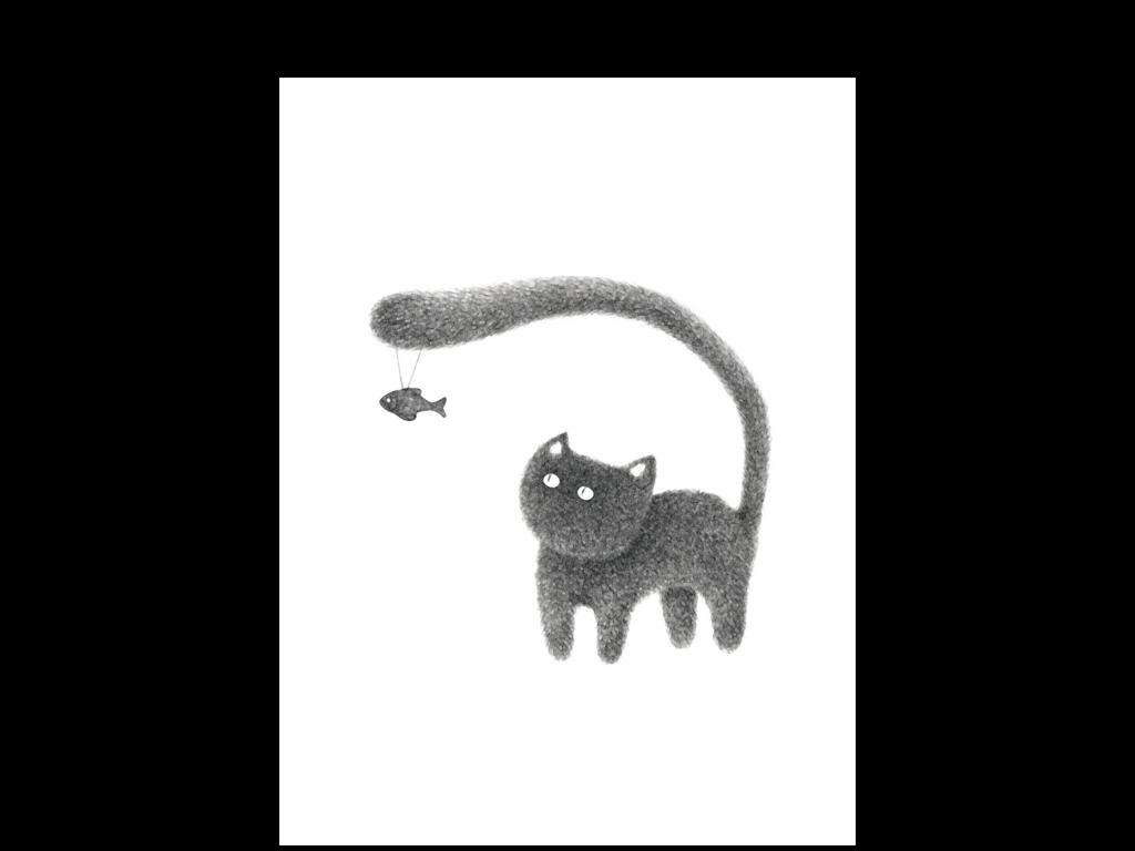 黑白猫咪卡通动物漫画清新装饰画简约风格小清新风格