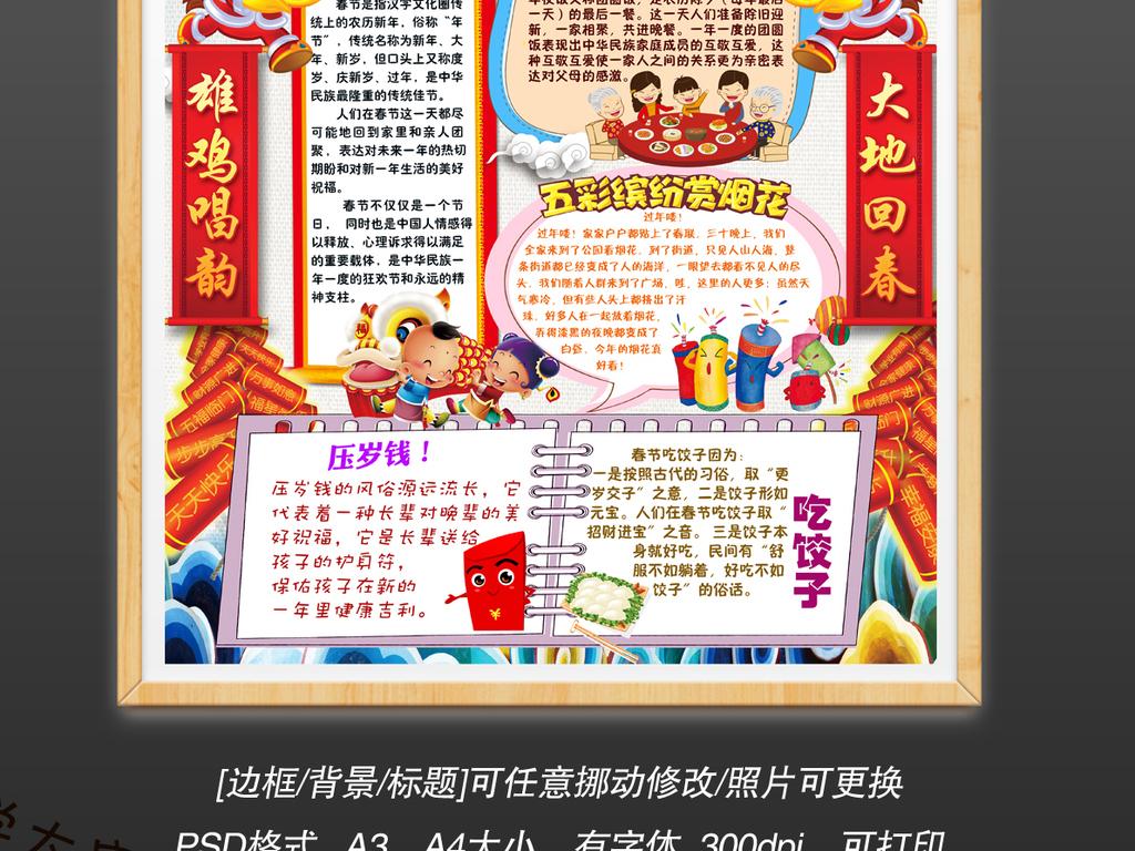 ps春节元旦新年喜迎鸡年竖版手抄报小报