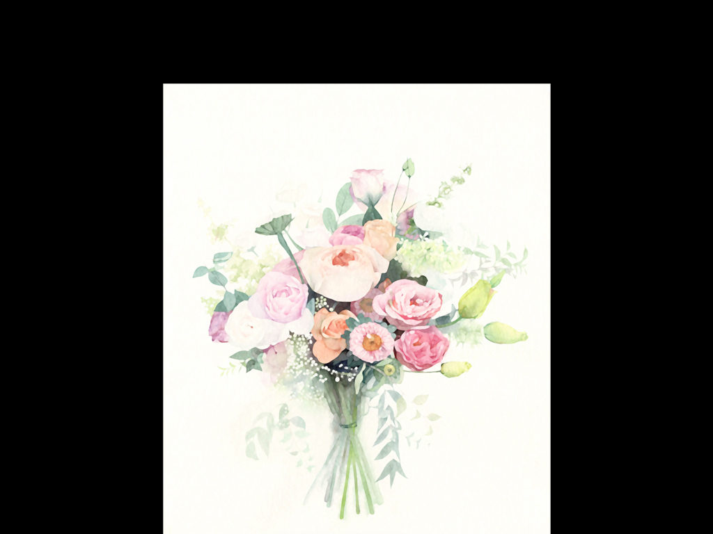 捧花玫瑰简约风格小清新风格简约小清新手绘风格手绘简约进口画芯欧美
