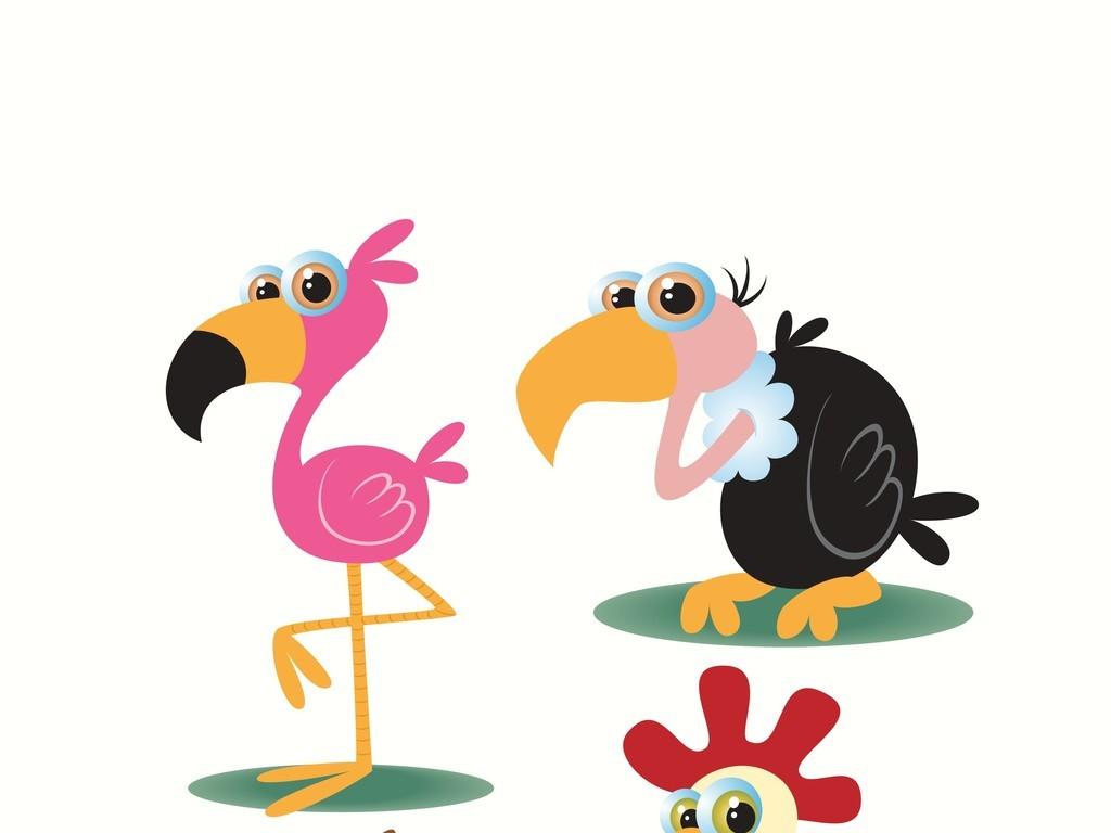 卡通动物鸟乌鸦火烈鸟图片
