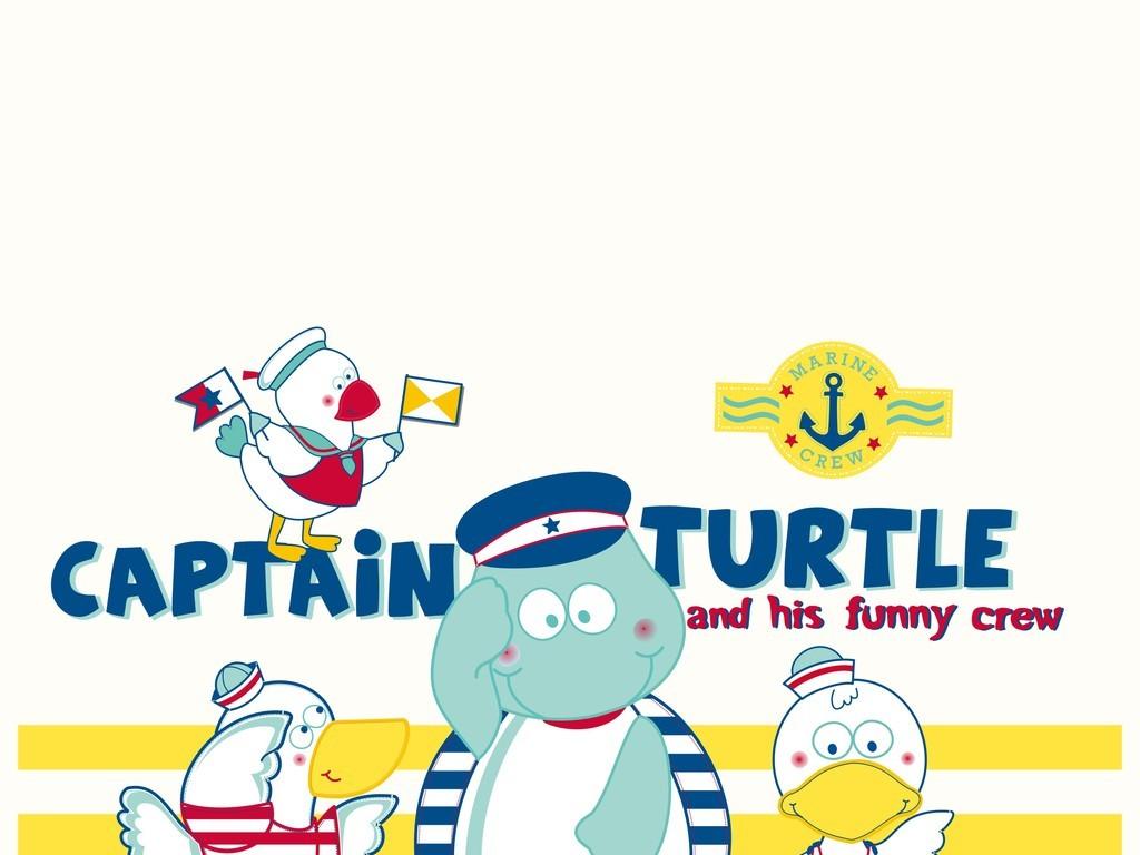 服装印花图案卡通图案乌龟鸭子徽章标志