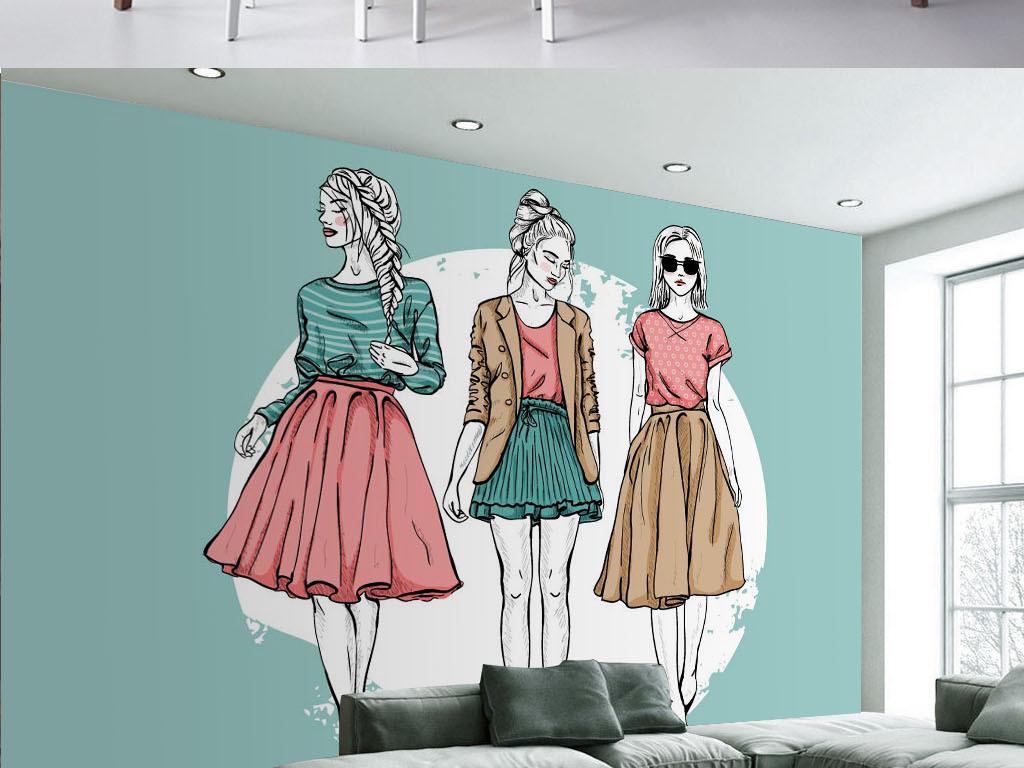 现代手绘时尚美女服装工装背景墙