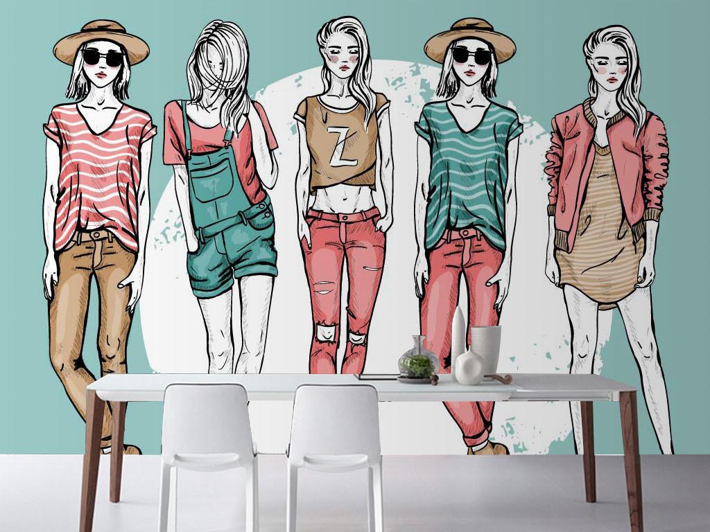 现代手绘时尚美女背景墙