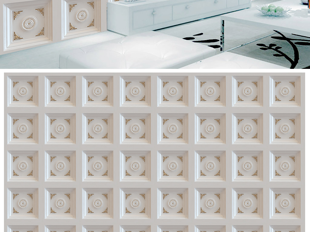 3d立体欧式花纹方砖客厅电视背景墙(图片编号:)