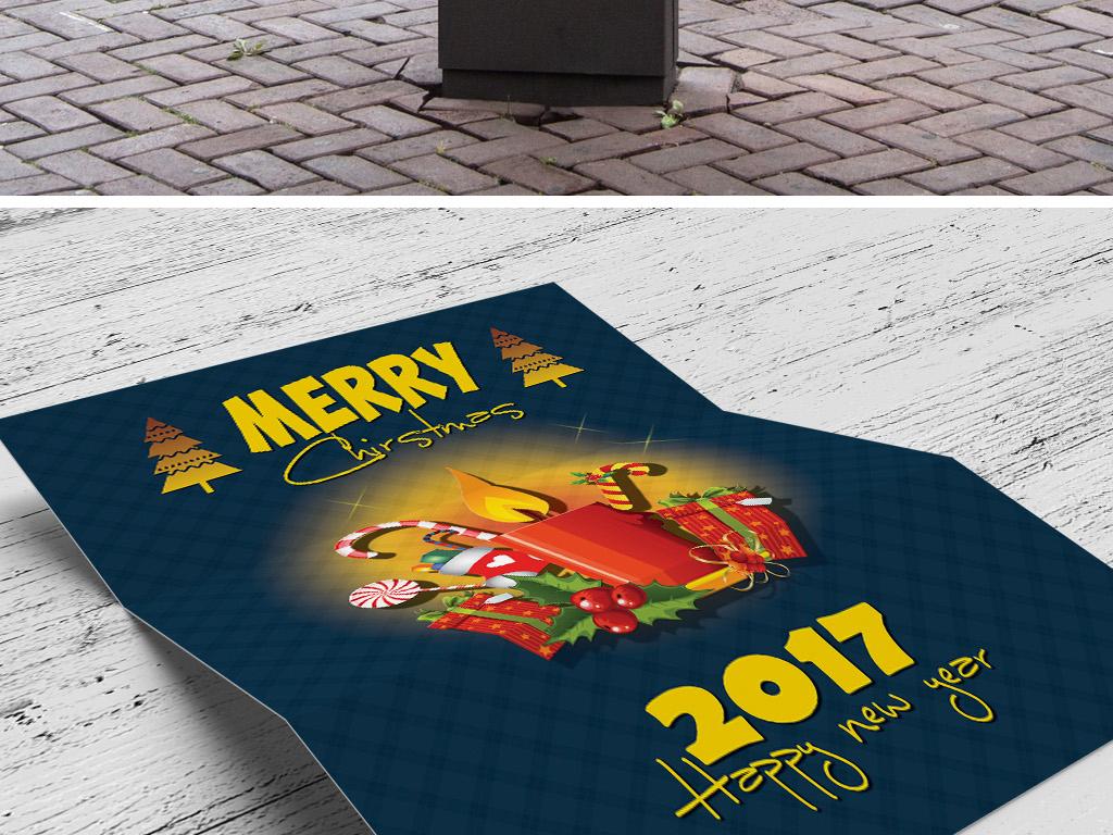 2色手绘卡通元旦新年圣诞节贺卡海报模板