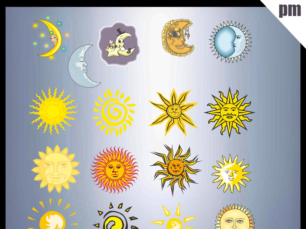 月亮星星手绘太阳手绘星星矢量图矢量图库cdr矢量图