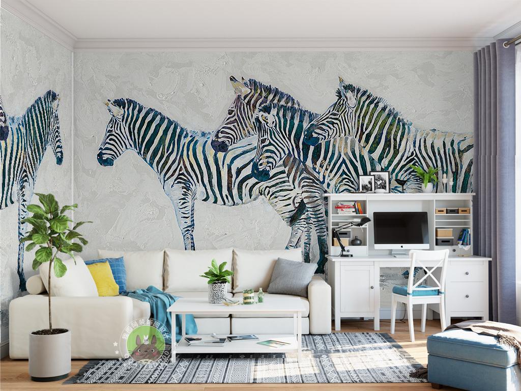 室内背景墙手绘怀旧卡通斑马斑马图片斑马条纹斑马