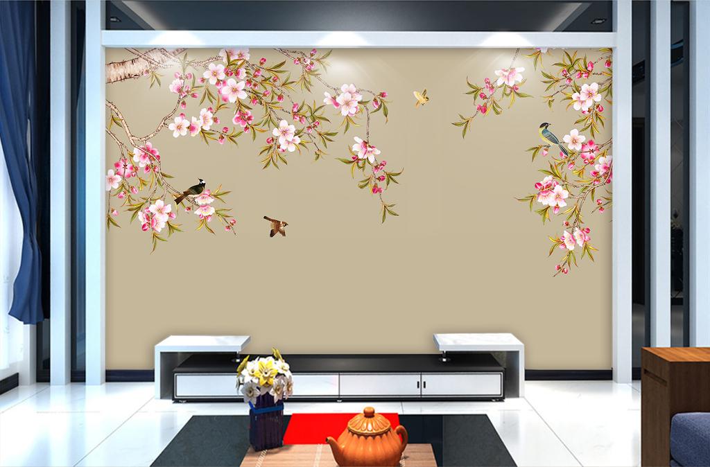 手绘工笔花鸟中式电视背景墙壁画