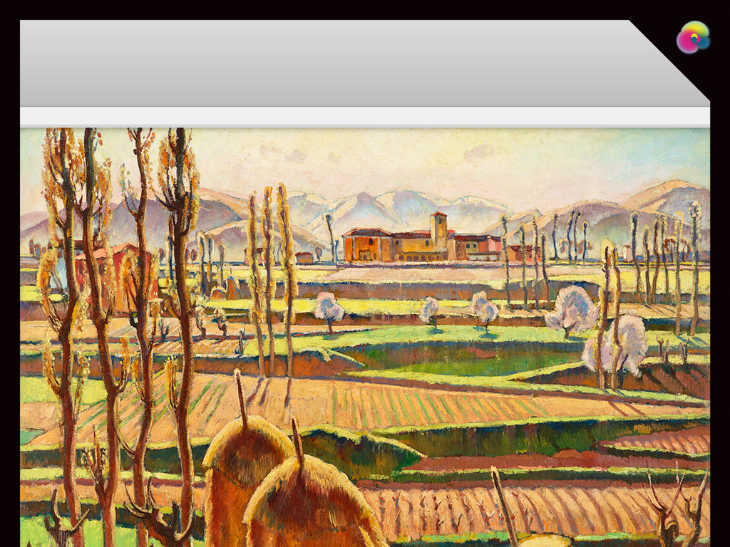 抽象手绘田园风景油画玄关壁画电视背景墙