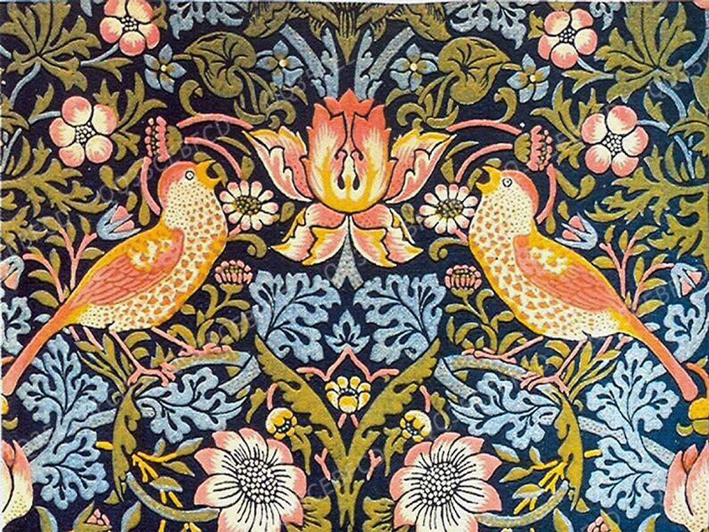 美式复古花鸟墙纸贴图