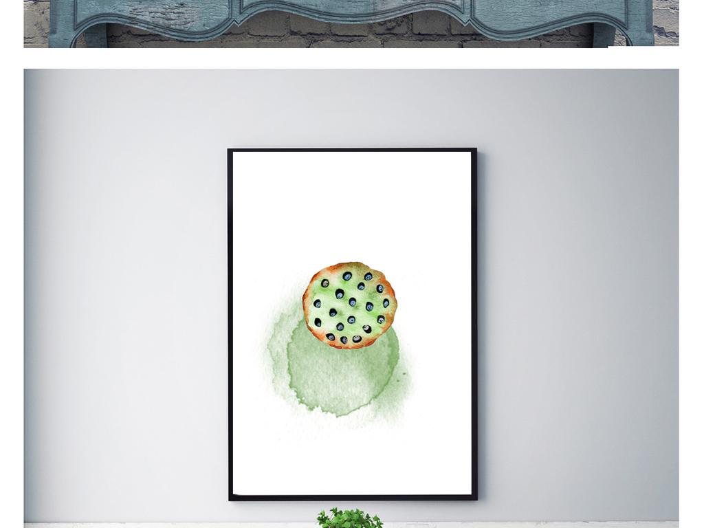 手绘水彩多肉植物装饰画三联画