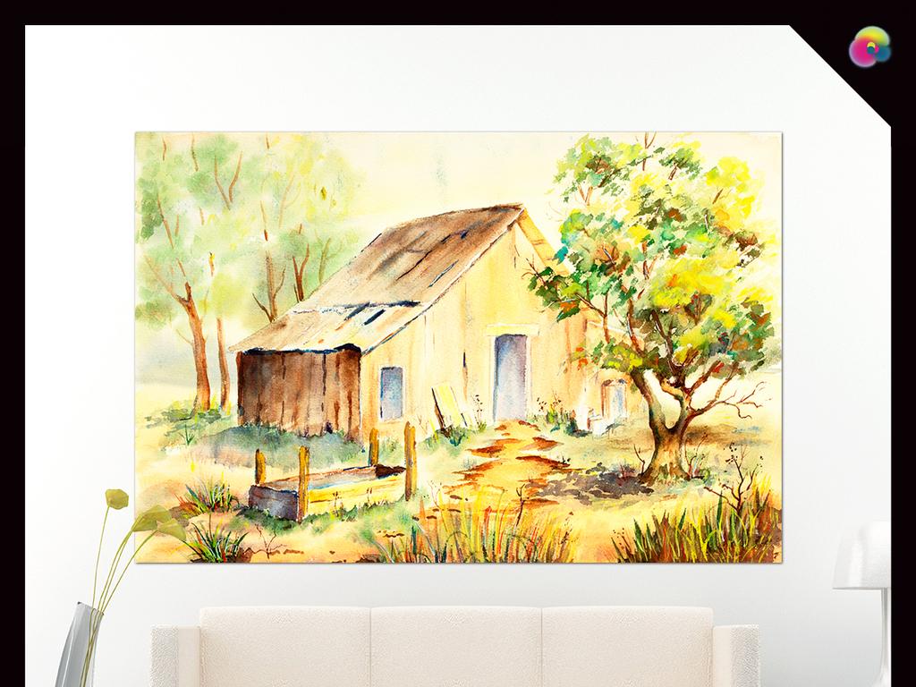 手绘唯美欧式复古乡村田园风景装饰画