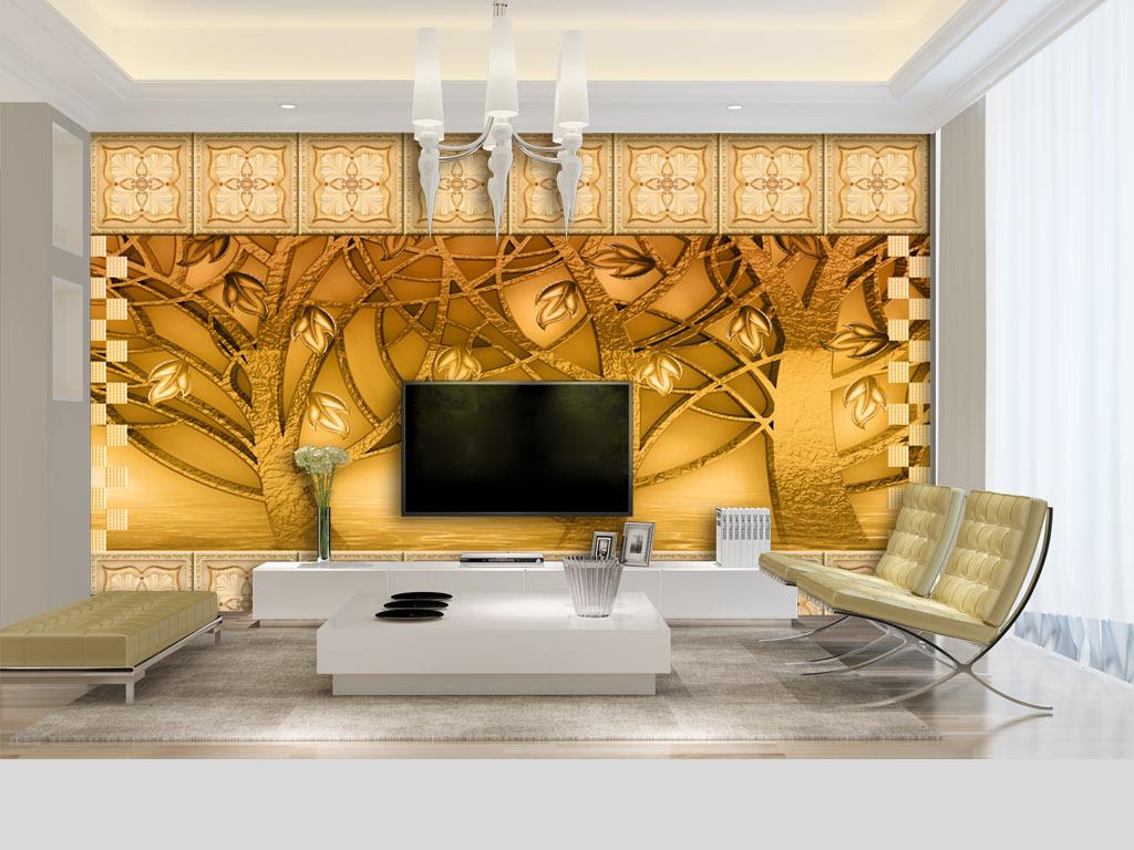 金箔树林艺术瓷砖3d电视背景墙壁画