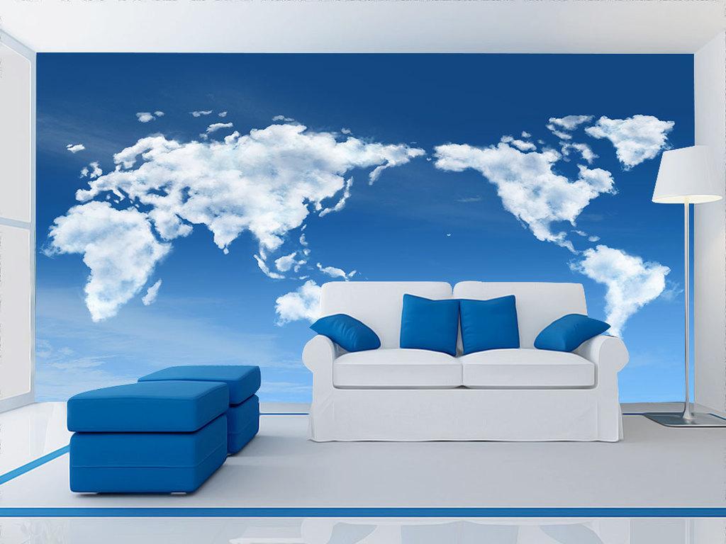清新天空世界地图背景墙壁画